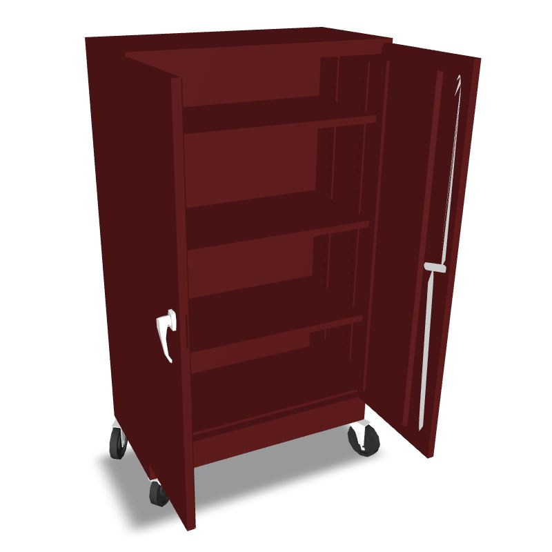 Kitchen Cabinets On Wheels: Red Cabinet With Wheels